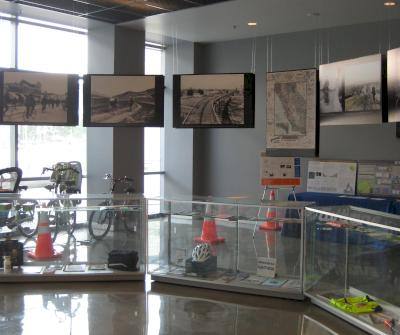 New museum exhibit on bicycling inside the Caltrans District 7 headquarters. Photo courtesy of Caltrans.